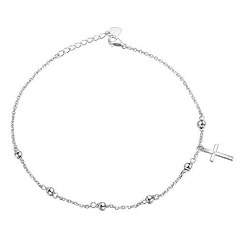 S925 Sterling Silver Anklet for Women Girl Beaded Cross Charm Adjustable Foot Ankle Bracelet Jewelry Birthday Gift (Beaded Cross Charm)