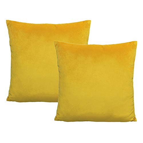 Yellow Soft Solid Velvet Throw Pillow Covers Decorative Cozy Square Cushion Cases Home Decor for Sofa Couch Bedroom Car 18x18 Inch Set of 2