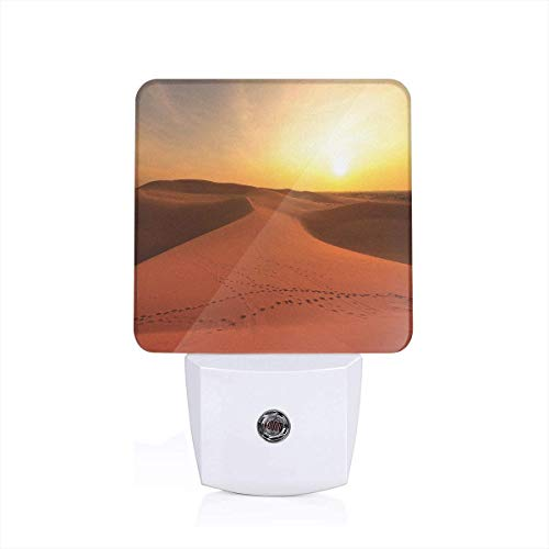 Colorful Plug in Night,Footprints On Sand Dunes at