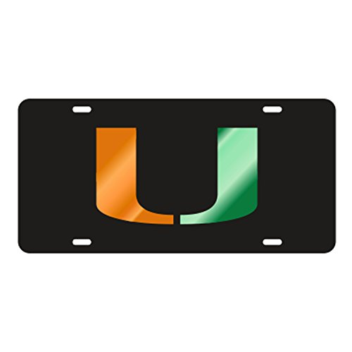 - The University of Miami Black Laser Cut Inlaid Mirror Tag