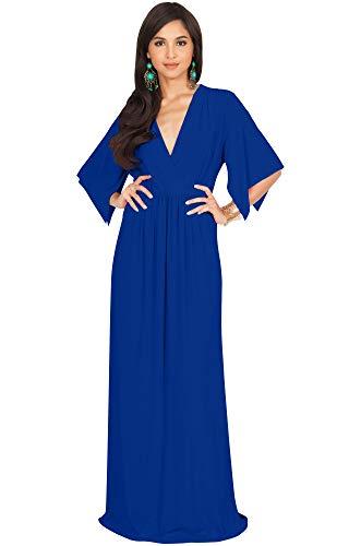 KOH KOH Plus Size Womens Long Kaftan Caftan Short Sleeve Empire Waist Flowy V-Neck Summer Bridesmaid Evening Sexy Cute Modest Maternity Gown Gowns Maxi Dress Dresses, Cobalt/Royal Blue 3XL 22-24 ()