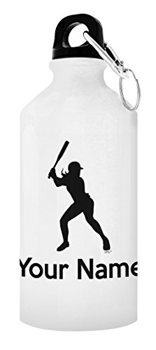 Customized Softball Equipment Customized Softball Water Bottle Personalized Gift 20-oz Aluminum Water Bottle with Carabiner Clip Top White