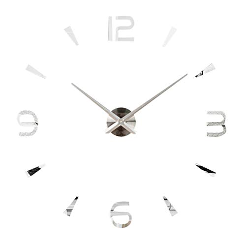 Acrylic Wall Clock,3D DIY Silent Non-Ticking Wall Clock Removable,Unique Wall Clock Home Decor Or Living Room/Office(Argent)