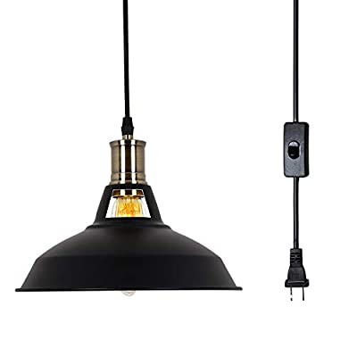 T&A UFO Industrial Plug in Pendant Lights with Off/On Switch,15.58 FT 1 Light Kitchen Antique Brass Hanging Light Fixture(Red) ... ...