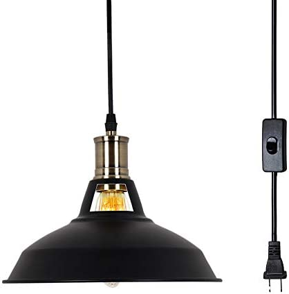 T A Plug in Retro Industrial Vintage Barn Hanging Lamp Metal Aluminum Shade Pendant Lighting with Off On Switch Black