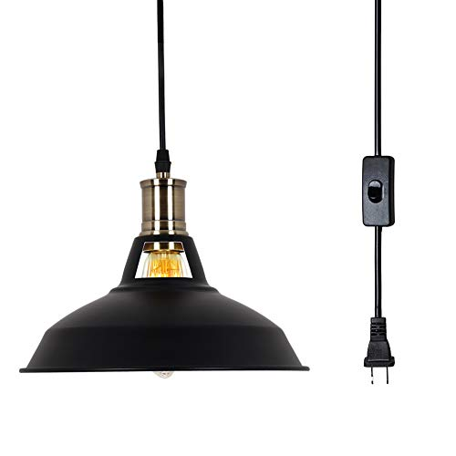 T&A Plug in Retro Industrial Vintage Barn Hanging Lamp Metal Aluminum Shade Pendant Lighting with Off/On Switch(Black)