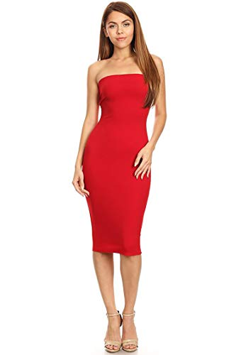 Casual Solid Comfy Sexy Strapless Midi Bodycon Tube Dress/Made in USA Red S