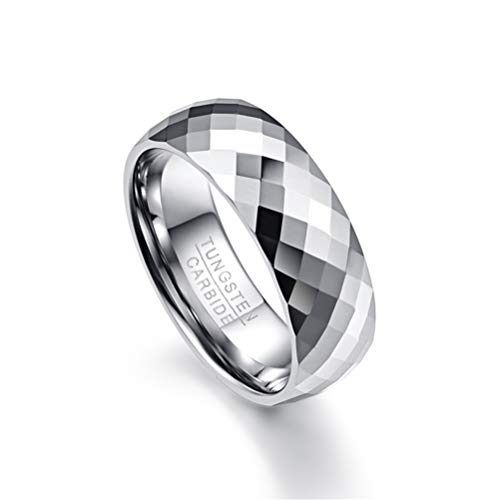 Men's 8mm Domed Tungsten Carbide Wedding Band Ring Multi-Faceted High Polished Comfort Fit