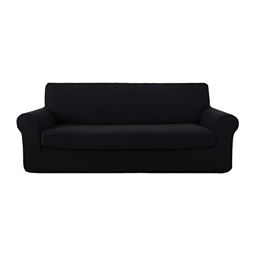 Deconovo Sofa Cover Fitted Spandex Sofa Furniture Protector Jacquard Stretch Anti-Wrinkle Slip Resistant Solid Couch Cover Black (Cover Couch Halloween)