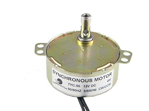 CHANCS TYC-50 Synchronous Motor 12V DC 5-6RPM CW/CCW 4W Electric Gear Motor For Christmas Decorations (Gear Motor 6rpm)