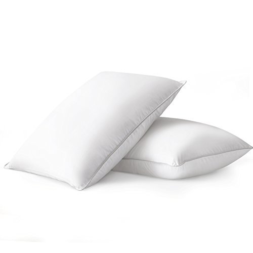 Beckham Hotel Collection Luxury White Down Feather Pillow (2-Pack) - Premium 100% Cotton Shell - King