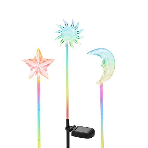 OxyLED SL02 Solar Powered Star, Moon & Sun Garden Stake Light with Color Changing LEDs