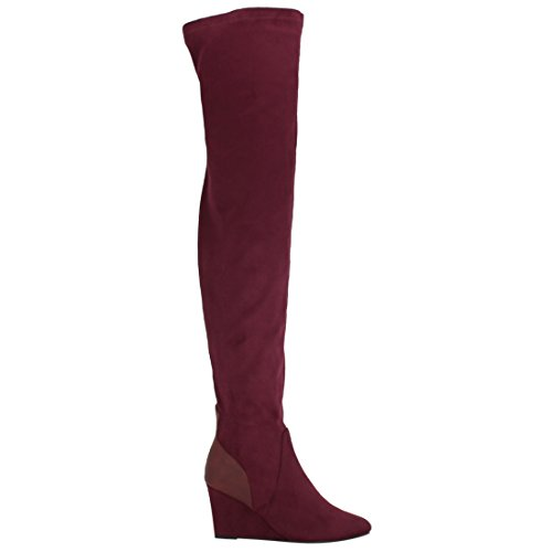 Wedge Wine High The EK54 Fit Breeze Nature Knee Snug Over Boots Women's Stretchy FvqnxSz7aw