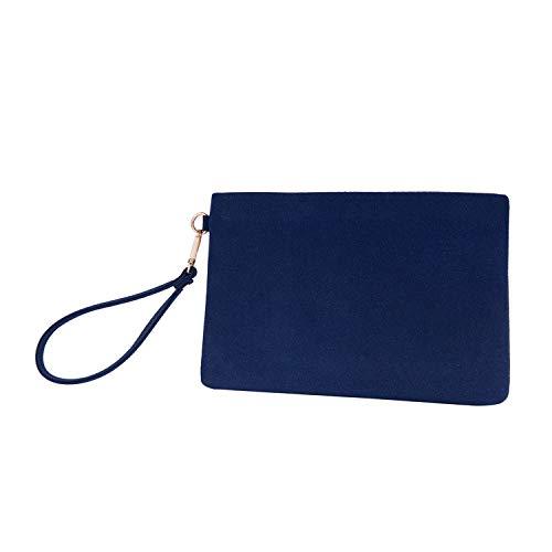 Wristlet Clutch Purses Women Large Wallet Evening Bag Handbag Vegan Faux Suede 2 Color Tone Pouch(Denim+Navy Blue)