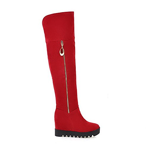 Solid High Boots Toe Closed High Top Womens Heels Round AgooLar Frosted Red qw0zCTT