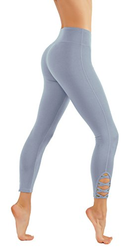- CodeFit Yoga Pants Power Flex Dry-Fit with CRIS Cross Leg Cutouts 7/8 Length Soled Color Leggings Key Pocket (M USA 2-4, CF321-L.BLU)