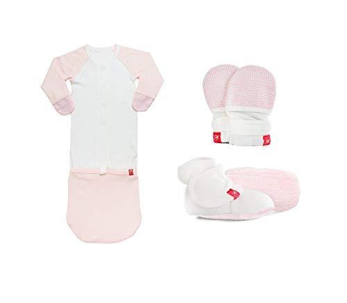 (Newborn Baby Mittens, Booties & Sleep Sack Pajamas Bundle, Organic, Soft & Adjustable (Pink Drops, 0-3 Months))