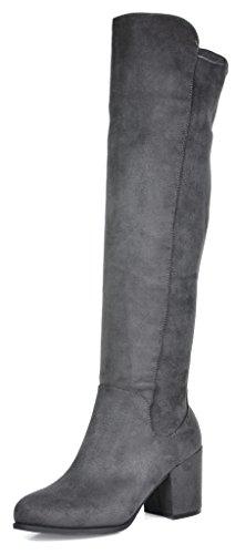 TOETOS Frauen Prade-High Overknee-Blockabsatz Stiefel Grau-01