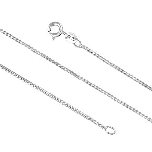 (Sterling Silver 1.3mm Box Chain Necklace Solid Italian Nickel-Free, 26 Inch)