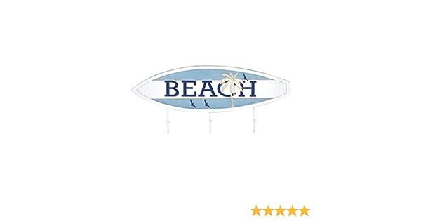 CAPRILO. Percha de Pared Decorativa Marinera de Madera 3 Ganchos Tabla Surf Beach. Percheros. Adornos y Muebles Auxiliares. Decoración Hogar. Regalos ...