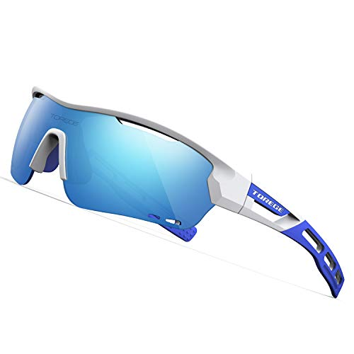 TOREGE Polarized Sports Sunglasses with 3 Interchangeable Lenes for Men Women Cycling Running Driving Fishing Golf Baseball Glasses TR33 Storm Chaser (White&Blue&Ice Blue ()