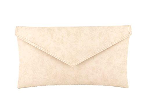 Bolsa bolso de mano compartimento envolvente bolsa de hombro metálicos Faux Piel Nude Pink Beige