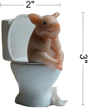 Gemmia Garden Pig Figurine-Toothbrushing Pig Statue