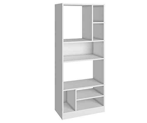 Manhattan Comfort Valenca 3.0 Collection Modern Decorative Free Standing 8 Shelf Bookcase with Open Shelf Design, White