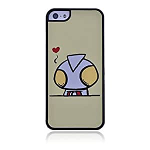 Matte Cute Robot Pattern Hard Case for iPhone 5/5S(Beige)