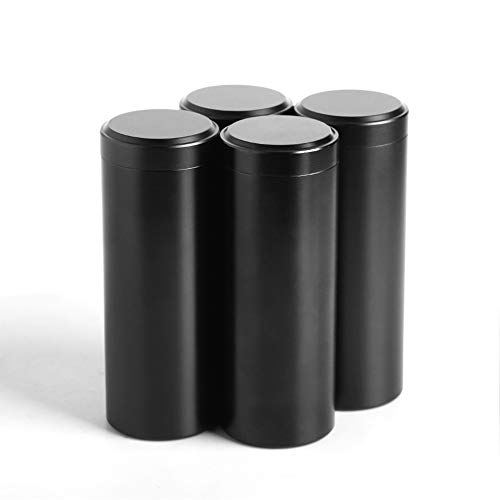 Tea Tins Canister set with Airtight Lids Home Kitchen Canisters for Tea Sugar Coffee Storage Loose Leaf Tea Tin Containers storage nut jar(Black, 4PC/4OZ) (Tea Tins And Coffee)
