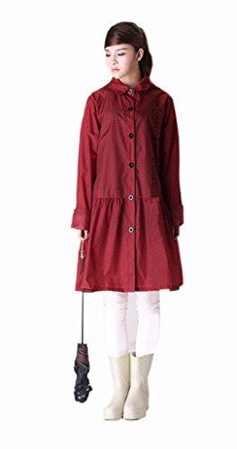 ColorDrip Women's Little Polka Dot Skirt Raincoat Red
