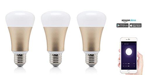 Smart Home LED Lampe, Glühbirne kompatibel mit Alexa, entspricht 40W Leistung, dimmbar, 16 Mio Farben, per App steuerbar, kein teures Steuerelement erforderlich, funktioniert mit Amazon Alexa, Plug & Play Set Up von Wasserstein (Glühbirne, 3 Pack)