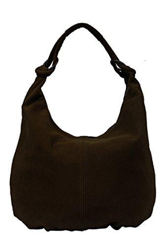 hombro de marrón Ante para mujer AMBRA al XX oscuro Moda Large Bolso SwRqxa1
