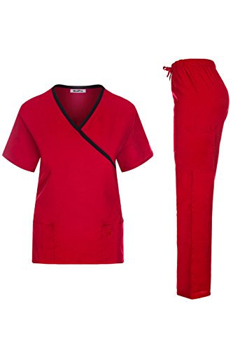 (MedPro Women's Contrast Trimmed Solid Medical Scrub Set Mock Wrap Top and Cargo Pants Red & Black L (GT-756))
