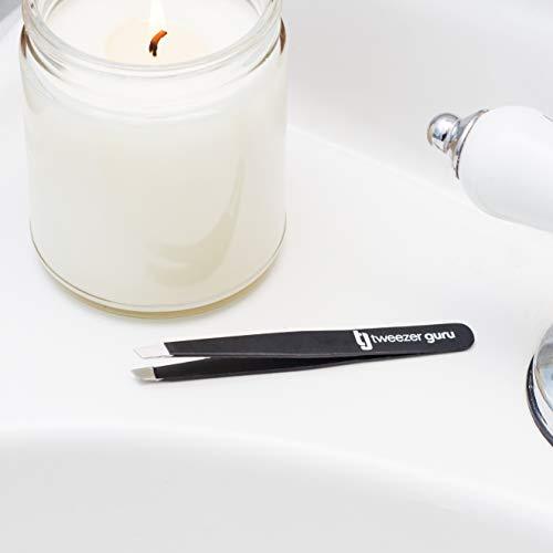 Tweezer Guru 4-piece Tweezers Set - Stainless Steel Slant Tip and Pointed Eyebrow Tweezer Gift Set - Great Precision for Facial Hair, Splinter and Ingrown Hair Removal (Black)