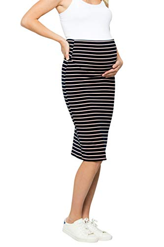 (My Bump Maternity Skirt for Women - Comfort Stretch High Waisted Tummy Control Cotton Blend Midi Pencil Skirt Made in USA Navy Pink)