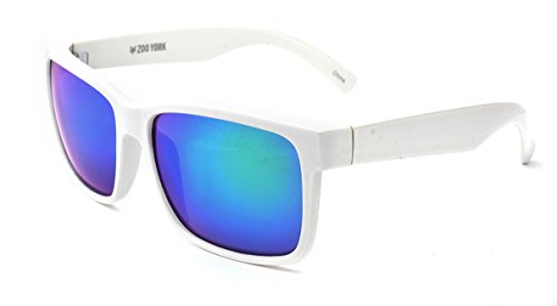 Zoo York Men's Rectangular Sunglasses, White Frame, Faux PBG Revo Lens, 60mm