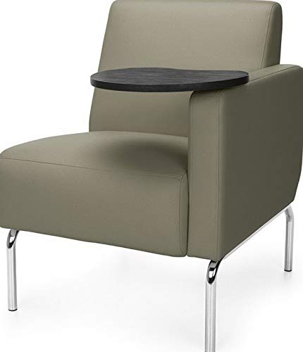 Price comparison product image Mikash Right Arm Modular Lounge Chair with Taupe Vinyl Seat w / Tungsten Finish Tablet / Model LNGCHR - 146