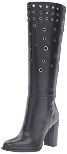Nine West Women's Quatrina Leather Boot, Black, 7.5 M (Metallic Leather Knee Boot)