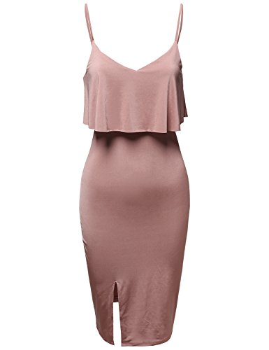 Back Body Con Dress - Party Club Solid Silky Stretch Strappy Overlay Slit Bodycon Dress Dusty Mauve M