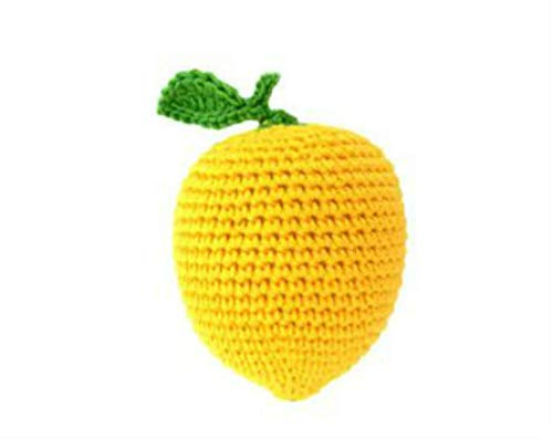 Handmade Lemon Baby Rattle Newborn Sensory Toys Organic Natural Fruit Teether and Shaker