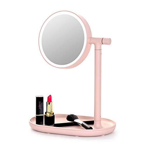 (Lighted Makeup Mirror Mirror with Cosmetic Organizer Tray, 1x/3x Magnification, USB Charging, 270- Degree Adjustable LED Light Makeup Vanity for Desk or Tabletop - Pink)