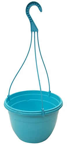 3 New 10.5 Inch Round plastic Hanging Basket Decorative Fancy Planter, Great Pot For Home Or Patio Garden 3 Pots, Blue (Planter Blue Plastic)