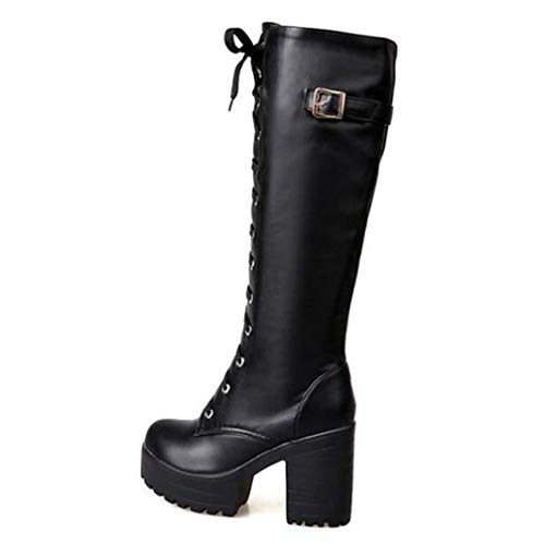 QSCQ Womens Winter Warm Sexy Boots Fashion Lace-Up Faux Leather Knee-High Buckle High-Heeled Motorcycle Boots