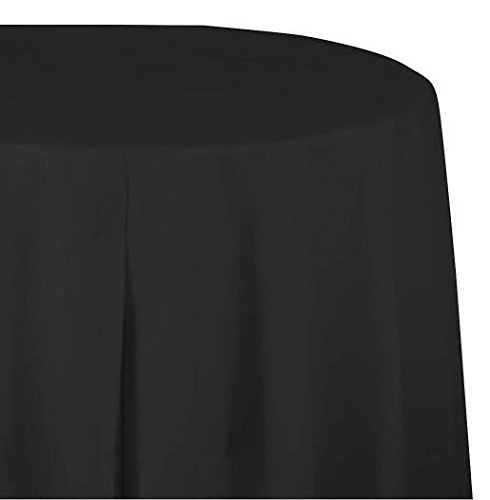 Creative Converting Touch of Color Plastic Tablecover Banquet Roll, 250', Black - Black And Velvet