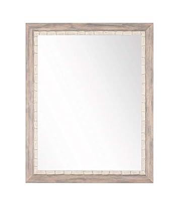 BrandtWorks BM023L Weathered Beach Wall Vanity Mirror, 32 x 38 , Cream Gray White