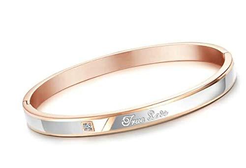 Gnzoe Women Stainless Steel Bracelet, Bangle Bracelet AAA Cubic Zirconia Engrave True Love Gold 18 cm