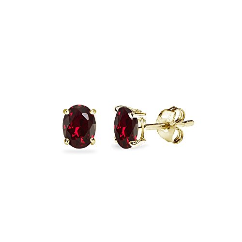 Yellow Gold Flashed Sterling Silver Created Ruby 5x3mm Oval-Cut Solitaire Stud Earrings ()