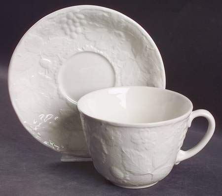 Burgess Leigh Strawberry and Grape Leaf White Jumbo Cup and Saucer Set