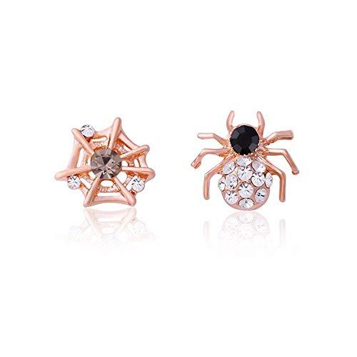 QERSHI Earrings Stud Earring Pendant Korean Version of The Personality Rhinestone Spider Web Earrings Full of Diamonds Asymmetric Ear Clip Earrings New